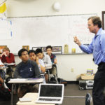 THEOLOGY TEACHER SCOTT JOHNSON teaches one of his  Theology 3 classes two days after the 2016 presidential election. Johnson and several  other teachers included the election in their classes including discussions and  assignments.