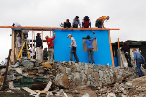 CUB VOLUNTEERS help to construct a house in Baja Mexico in 2015. This December marks the first time two builds will take place.